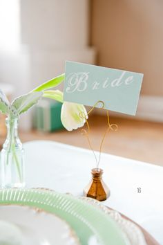 20 Mint Wedding Ideas: #16 Mint Place Cards (by Peter Loves Jane)