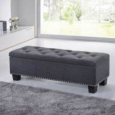 Baxton Studio Alekto Modern and Contemporary Dark Grey Fabric Upholstered Button-Tufting Storage Ottoman Bench