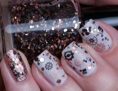 What an awesome shade! Loaded Lacquer:  ♥ Steampunked ♥  Sreampunk glitter topper nail polish.