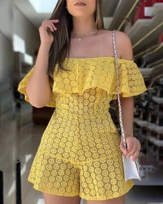 Off Shoulder Eyelet Embroidery Ruffles Rompers for Women Sexy Slash Neck Short Sleeve Summer Playsuit One Piece Overalls - & Trend Fashion, 80s Fashion, Runway Fashion, Latest Fashion, Fashion Online, Fashion Ideas, Ruffle Romper, Romper Dress, Lace Jumpsuit