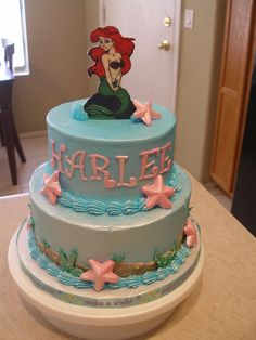 Disney Ariel Little Mermaid Birthday Cake And Cupcakes