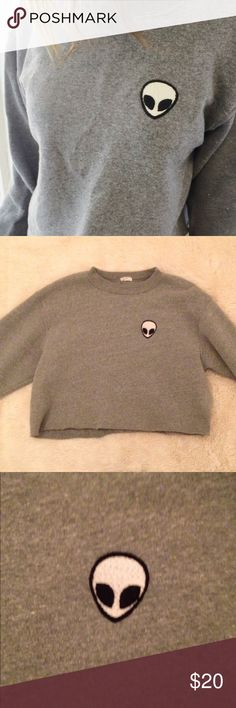 Alien Patch Brandy Melville Sweatshirt Great material. Wore 3 times. 65% Cotton, 35% Polyester. Super thick. Looks brand new. Comes w/ stickers! Brandy Melville Sweaters
