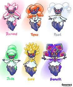 Here's more old art! Diancie variants based on various precious gems/metals. Pokemon Pink, First Pokemon, All Pokemon, Pokemon Breeds, Pokemon Fusion Art, Pokemon Pictures, Old Art, Hetalia, Bowser
