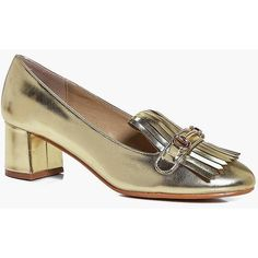 Boohoo Alexis Block Heel Loafer (2,355 INR) ❤ liked on Polyvore featuring shoes, loafers, loafer flats, balmoral shoes, flatform brogues, loafer shoes and high top shoes
