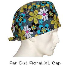Surgical Scrub XL Caps Far Out Floral 100% cotton made in the USA