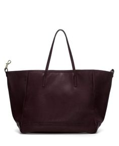 Solid-tone Magnetic-snap Leather Tote