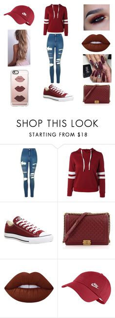 """""""Nikeeee"""" by fiji-cammy on Polyvore featuring Topshop, Converse, Chanel, Lime Crime, NIKE and Casetify"""