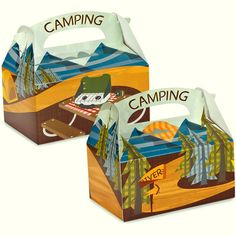 Let's Go Camping Empty Favor Boxes Includes (4) empty favor boxes. Weight (lbs) 0.1 Length (inches) 10 Width (inches) 6 Height(inches) 0.25