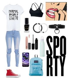 """""""School Tomboy Outfit"""" by bubblewolf0313 on Polyvore featuring Converse, JanSport, Carven, Marc Jacobs, MAC Cosmetics, Lokai, Barry M and NIKE"""