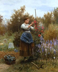 The Athenaeum -  Hollyhocks Daniel Ridgway Knight - 1888 Private collection Painting - oil on canvas