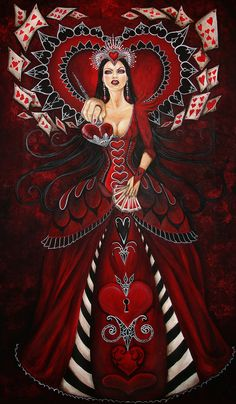 Queen of Hearts from Alice in Wonderland. LOVE THIS ART
