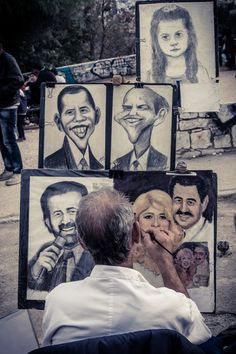 "Street Artist, Athens, Greece ""Caricatures"" by Vassilios Zacharitsev"