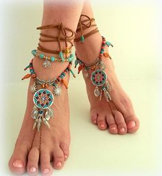 A pair of tribal barefoot sandals made of dreamcatcher items, decorated with blue, oringe and brown polimer clay by me, accented with se… Boho Sandals, Ankle Wrap Sandals, Bare Foot Sandals, Hippie Shoes, Hippie Boho, Modern Hippie, Hippie Fashion, Boho Gypsy, Hippie Style