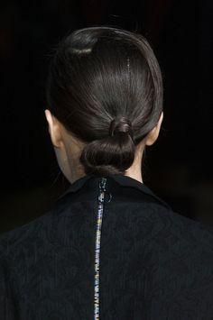 Tucked in ponytail at Aganovich Fall 2014  - Runway Beauty at Paris Fashion Week #PFW