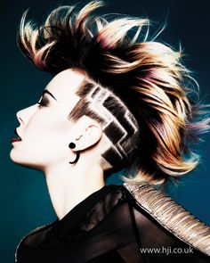 """♪ This is so awesome. If only I didn't have to look """"professional"""" for work... edgy, artistic, abstract and modern pixie mohawk with intense blonde, maroon, and brown colored dyes and a uniquely designed undercut #pixiecut #hairdo #haircolor"""