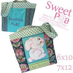 I love bunnies bag 6x10 7x12 in the hoop machine embroidery design  #machineembroidery #inthehoop #machineembroiderydesigns