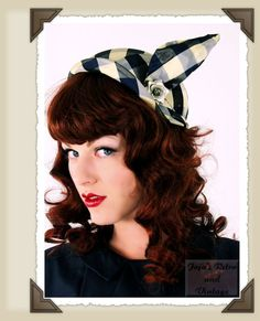 30s vintage hat of blue checkered satin with flair