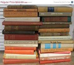 on sale earthtone book stack  hardcover set of by rivertownvintage