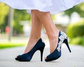 RESERVED for Ashley. Navy Blue Wedding Heels with Ivory Lace Applique