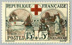Zoom sur le timbre «Navire hôpital «Asturia» Croix-Rouge française», 1918.
