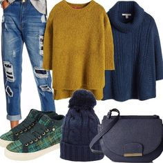 Look da giorno, comodo e colorato, adatto a chi ama vestirsi casual con uno sguardo al glam. Jeans ad ottimo prezzo con strappi e vita alta abbinati ad un maglione color senape più lungo dietro e corto davanti e ad una deliziosa mantella a vita alta con maniche a tre quarti e tasche laterali. Sneakers in lana con lacci, piccola borsa con tracolla e chiusura magnetica e, per finire, un cappellino blu a maglia grossa con pon pon perfetto nel mood.