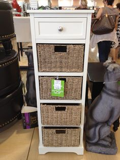 Great narrow cabinet for concealed storage. Instant organization for your drop-off zone Mail, magazines, etc. Spotted at Homegoods! $129.99