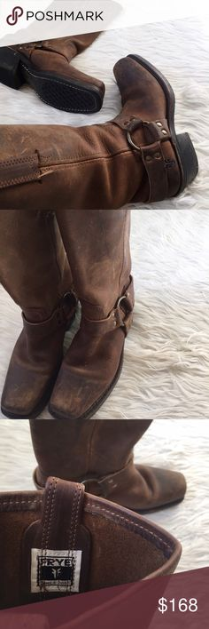 • Frye • Brown Harness Boots Distressed brown leather boots Frye Shoes Heeled Boots