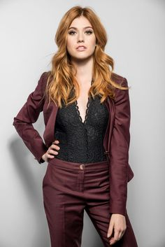 New/Old Portrait from Katherine Mcnamara, Gorgeous Redhead, Gorgeous Women, Redhead Shirts, Amy Johnson, Burgundy Outfit, Shadowhunters, Beautiful Actresses, Girl Crushes