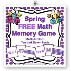 Spring FREE math game makes practicing tenand eleven multiplication facts fun! Included are 45 memory cards for students to match the multiplication array, multiplication fact, and product. This is a perfect activity for small groups and centers in March, April, and May!