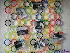 Reciclagem  made by CEMA;  Mural fotos feito com lacres refrí.