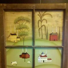 John Sliney design hand painted by moi using an old wooden window as the frame.