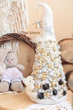 """Купить Елочка """"Белый Мишка!"""" - белый, золотой, мишка, елка, елка ручной работы, елки"""