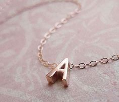Tiny Rose Gold Initial Necklace