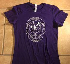 Purple women's road bike shirt, gift for road biker, sugar skull t shirt, day of the dead shirt, psychobilly women's shirt