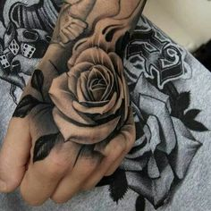 Black And Grey Rose Tattoo On Left Hand For Women