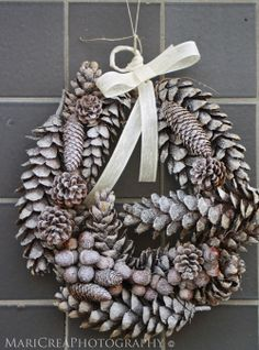 Sugared Pine Cones.  I love irregular shapes to wreaths. I guess I 'm just an asymmetrical person with occasional symmetrical leanings. Maybe string in a garland and wind into this shape.