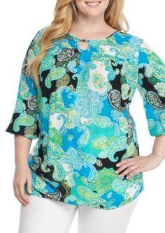 Kim Rogers Women's Plus Size Three Quarter Length Paisley Print Tunic - Turquoise Combo - 3X