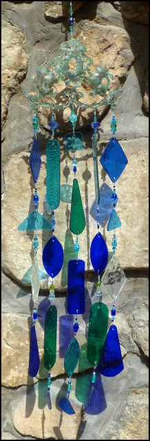 """Wind Chime - Aqua, Blue & Green Stained Glass - Metal Lions Design - 32"""" long - $149.95 - - Stained Glass SunCatchers, Stained Glass Wind Chimes, Handcrafted Stained Glass Designs, Suncatchers -  From Accent on Glass  - www.AccentonGlass.com"""