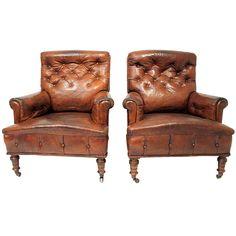 pair of 19th century gentleman's leather club chairs - england - height: 35.8 in. (91 cm)  depth: 31.5 in. (80 cm)  width/length: 29.9 in. (76 cm) - via blighty, dealer ref. : 10342  ref. : U121028941457 - 4850 usd