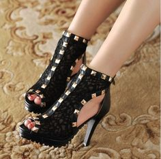 4 INCH HIGH HEEL PUMPS LACE WITH JEWELS WOMENS SEXY SHOES