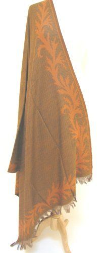 """Leaf Border"" Silk Merino Wool Shawl Wrap Stole Scarf Throw Copper Bronze Ashiana. $125.00"