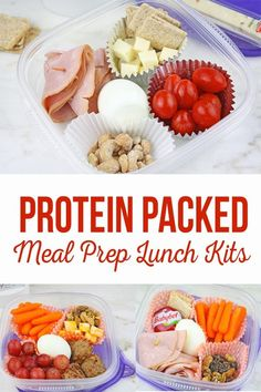 Protein Packed Meal Prep Lunch Kits - - Protein Packed Meal Prep Lunch Kits will help you eat healthy. Her are some of our awesome tips and recipes to get Protein packed into your lunch. Protein Lunch, Healthy Protein Snacks, High Protein Recipes, Low Calorie Recipes, Healthy High Protein Meals, Protein Packed Snacks, Protein Foods For Kids, High Protien Foods, High Protein Snacks On The Go