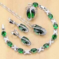 925 Sterling Silver Jewelry Green Zircon White CZ Jewelry Sets Women E – intothea Ring Necklace, Women's Earrings, Pendant Necklace, Fashion Bracelets, Fashion Jewelry, Fashion Fashion, Wholesale Silver Jewelry, Handmade Rings, Bridal Jewelry Sets