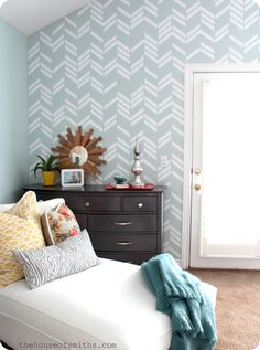 Scattered Herringbone wall decal in Jen's house. thehouseofsmithsdesigns.com