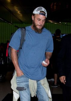 Travis Fimmel arrives at LAX (Los Angeles International Airport).