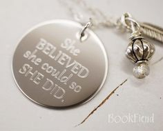 She believed she could so she did engraved 1 charm by BookFiend She Believed She Could, Jewelry Box, Unique Jewelry, Just Love, My Favorite Things, Charmed, Drop Earrings, Cool Stuff, Personalized Items