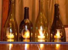 LOVE - Wine Bottle Centerpiece or Mantle Accent.