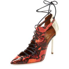 Malone Souliers Women's Montana Lace-Up Snakeskin Pump - Red, Size 38 ($300) ❤ liked on Polyvore featuring shoes, pumps, red, high heel shoes, red lace up shoes, red high heel shoes, metallic pumps and red pointed toe pumps