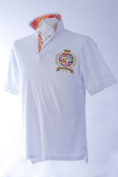 Our classic-fitting short-sleeved polo in breathable cotton interlock, finished with captivating Robert Owen Collection signature patch and embroidery.  Color: White  Collar: (Multi-Colored Plaid Print)   Two-button concealed twill placket,contrasting twill collar. Collar topside has fashionable print similarities of placket. Our embroidered International Crest accents the left chest. Accompanied by matching handkerchief. 100% cotton. Machine washable. Imported.  $70.00
