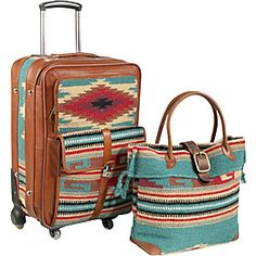 AmeriLeather Odyssey 2 Pc. Carry-on Luggage Set  - Turquoise - via eBags.com! // these are so adorable